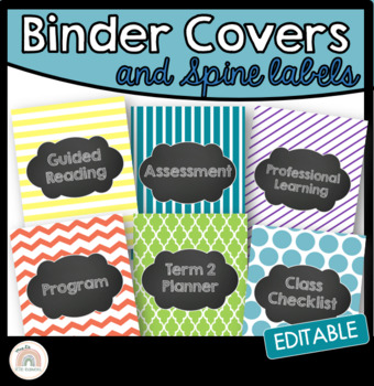 Editable Folder/Binder Covers with Chalkboard Labels