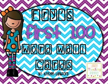 Editable Fry's First 100 Word Wall Cards in Bright Chevron
