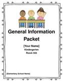 Editable General Information Packet Parent Letter for Kind