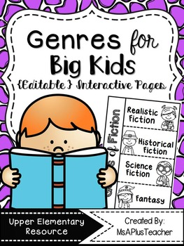 Genres for Big Kids {Editable} Interactive Notes