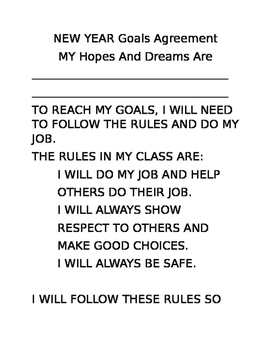 Free Editable New Years Goals Agreement