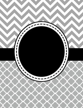 Editable Gray Chevron and Quatrefoil Binder Cover and Spine Label