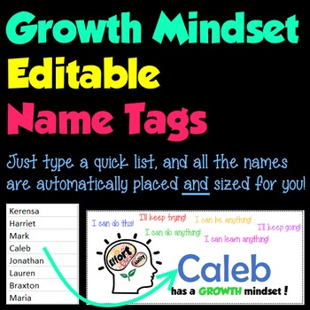 Editable Growth Mindset Name Tags / Name Plates
