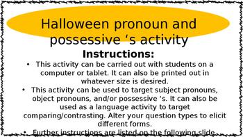 Editable Halloween Pronoun & Possessive S Speech & Languag