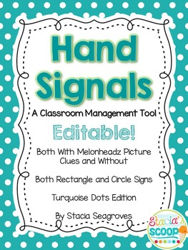 Editable Hand Signal Sign Posters in Turquoise Dots