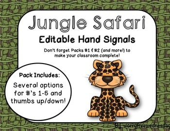 Editable Hand Signals (Jungle Safari Themed)