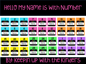 Editable Hello my name is name tags with numbers