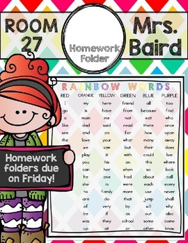 Editable Homework Folder Covers