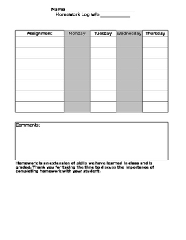Editable Homework Log