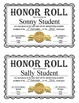Editable Honor Roll Certificates - Gold, Silver, and Bronz