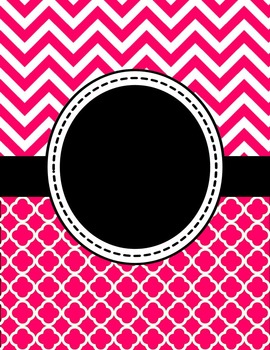 Editable Hot Pink Chevron and Quatrefoil Binder Cover and