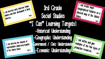 "Editable ""I Can"" Social Studies Learning Targets (3rd Grad"