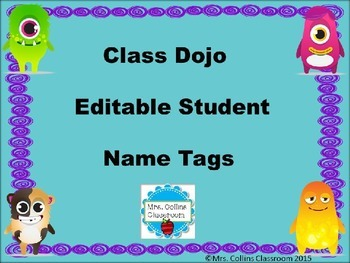 Editable Individual Student Name Tags