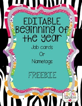 FREEBIE! Editable Cards