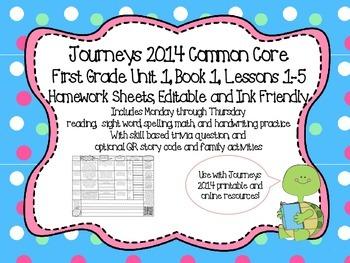 Editable 2014 Journeys Inspired First Grade Weekly Homewor
