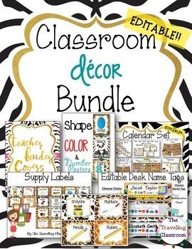 50% off!!  Editable Jungle Zoo Safari Classroom Decor Bundle