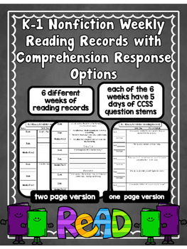 Editable K-1 Nonfiction Weekly Reading Records w/ Comprehe