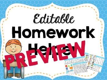 Editable Kindergarten Homework Helper