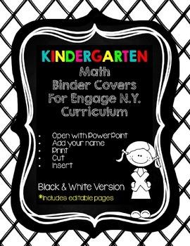 Editable Kindergarten Math Engage New York Binder Covers -