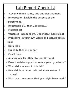 Editable Lab Report Checklist