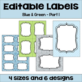 Editable Labels (4 sizes & 6 designs) in Blue & Green with