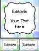 Editable Labels, Binder Covers & Spines - Blue and Green W