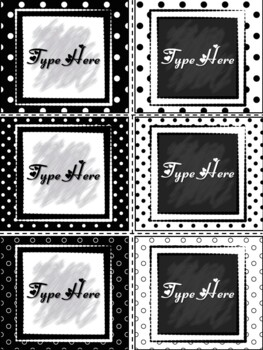 Editable Labels - Black and White Polka Dots