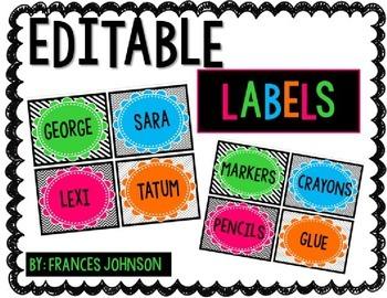 Editable Labels: Brights & Black