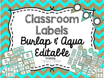 Editable Labels: Burlap & Aqua