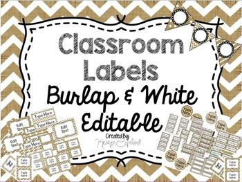 Editable Labels: Burlap & White