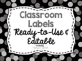 Editable Labels: Gray Confetti (Polka Dots)