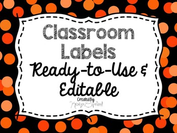 Editable Labels: Orange Confetti (Polka Dots)