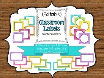 {Editable} Labels - Polka Dot