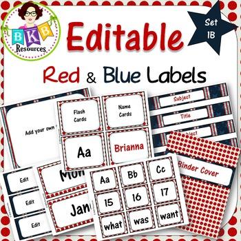 Editable Labels - Red & Blue Set 1B