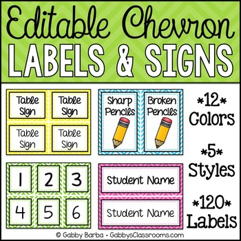 Editable Labels & Signs {Chevron - 120 Included!}