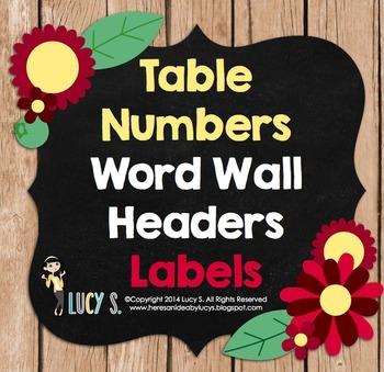 Editable Labels, Word Wall Headers & Table Numbers - wood,