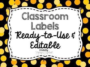 Editable Labels: Yellow Confetti (Polka Dots)
