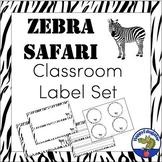 Editable Classroom Labels - Zebra Print Safari