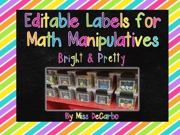 Editable Labels for Math Manipulatives and Organization {B