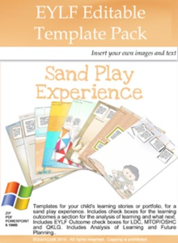 Editable Learning Story Portfolio Templates- Sand Play