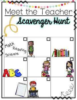 Editable Meet the Teacher Scavenger Hunt