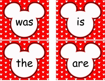 Editable Mickey Word Wall Cards  **** Red