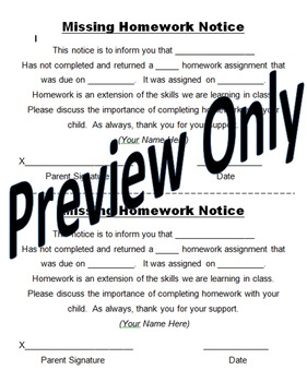 Back to School Editable Missing Homework Notice for Parents