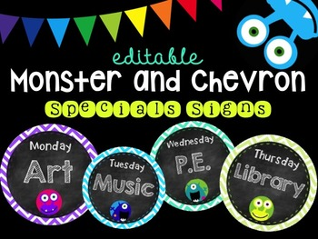 Editable Monster Chalkboard and Chevron Specials Signs