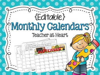 {Editable} Monthly Calendars 2016-2017