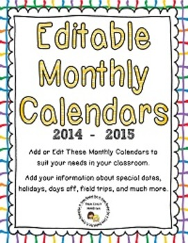 Editable Monthly Calendars for 2014 - 2015 (Microsoft Publ