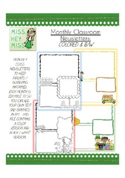 BUNDLE Editable Monthly Class Newsletters: COLOR & B/W