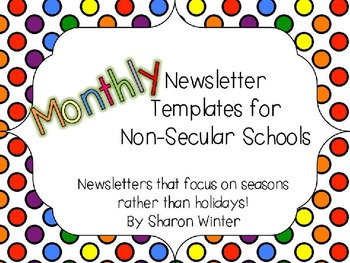 Editable Monthly Classroom Newsletters Templates for Non-s