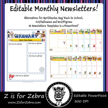 Editable Monthly Newsletters - 16 Pages, Alternatives for