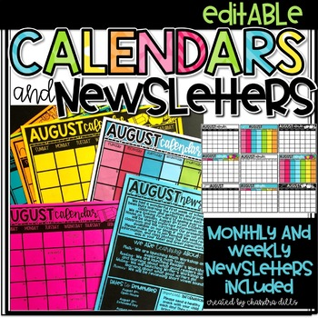 Editable Monthly Newsletters and Calendars